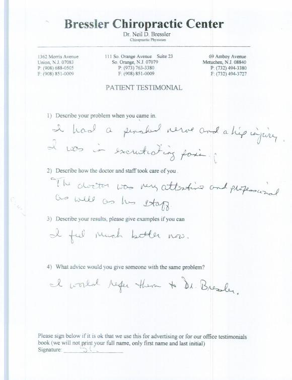 Chiropractor in Metuchen NJ - Dr Neil Bressler 1